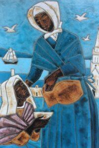 Peinture représentant Jeanne Jugan et une personne âgée