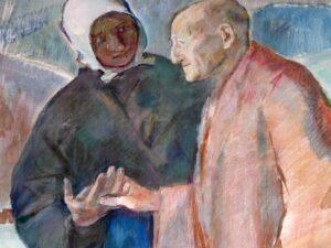 Jeanne Jugan et une personne âgée, tableau réalisé par Dina Bellotti