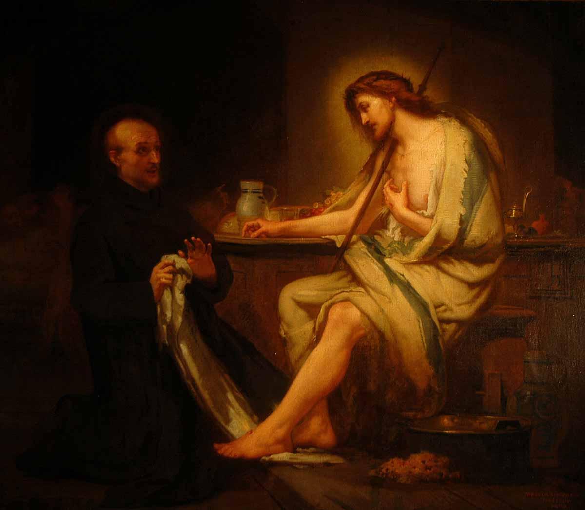 tableau de Saint Jean de Dieu où Jésus lui apparaît sous l'apparence d'un mendiant