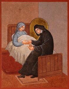 icone de Jeanne Jugan soignant la première personne âgée