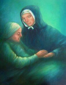 peinture de Jeanne Jugan avec une personne âgée