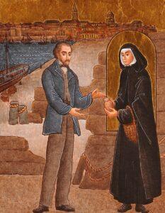 Jeanne Jugan en quête à St Malo, tableau de Pinecross
