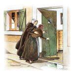 image de Jeanne Jugan faisant entrer une personne âgée dans sa maison